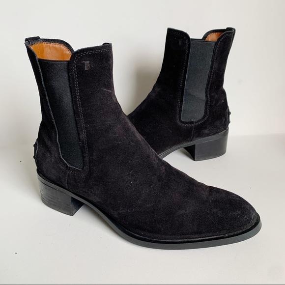 Tod's Women's Black Suede Chelsea Ankle Boots Sz 8